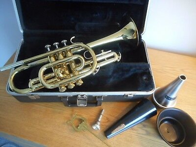 BACH SERIES LONG MODEL CORNET with CASE, MOUTHPIECE, MUTES and MUSIC HOLDER