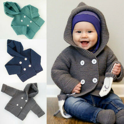 Toddler Kids Baby Boy Girl Button Hooded Knitted Sweater Coat Cardigan Outerwear