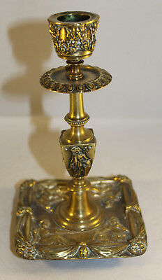 """Antique Brass Candlestick Classical Decoration With Green Man Sconce 7.5"""" Tall"""