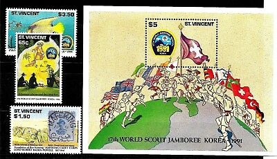 St.Vincent:1991:Scouts Jamboree,Set & Min/Sheet,L.M.Mint.