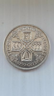 1929*aunc*gb King George V One Florin / Two Shillings 0.500 Silver Coin-#834
