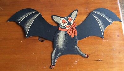 "1920's BEISTLE DIE CUT Happy Bat Movable Wings 17 "" HALLOWEEN"