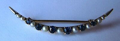 Lovely Estate 14k Yellow Gold Blue Sapphire & Pearl Pin Or Brooch