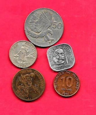 Philippines 5 Diff Different 1964-1997 Coin Lot Collection Set Inc Old & Large
