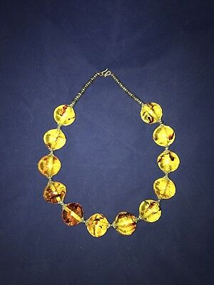 Stunning Huge MOROCCAN BUBBLE NECKLACE Copal Amber Beads Silver Statement