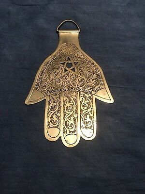 LARGE Moroccan Silver HAND OF FATIMA WALL HANGING Good Luck Charm HAMSA