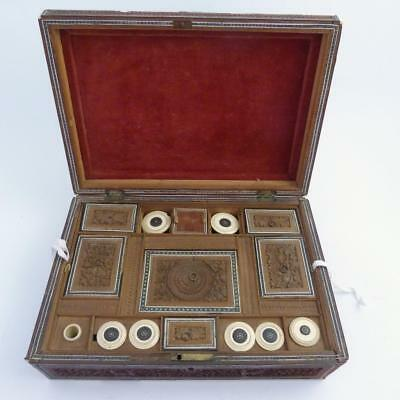 19Th Century Anglo Indian Vizagapatam Inlaid Sewing Box