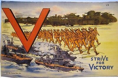 Wwii Postcard V - Strive For Victory, Marching Soldiers And Battleships