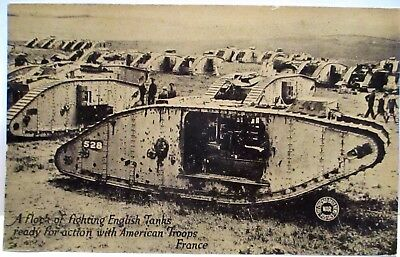 Wwi Postcard Flock Of Fighting English Tanks Ready With American Troops,france
