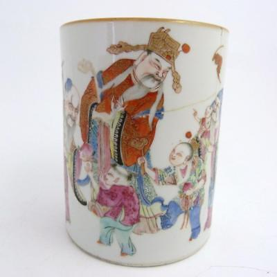 19Th Century Chinese Famille Rose Porcelain Brush Pot, Daoguang Period