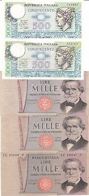 Italy Banknotes - A set of 5 x Lira notes in good condition