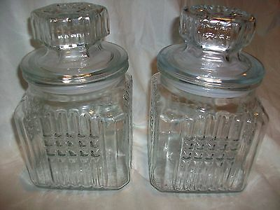 """2 Vintage KOEZE'S 7"""" Clear Glass Canister Apothecary Candy Jars 1988"""