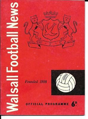 Walsall V Leeds United - Football League Fixture 1962