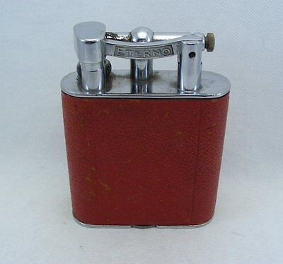 Eterno Italy Art deco Chrome-plated Metal & Leather Petrol Table Lighter