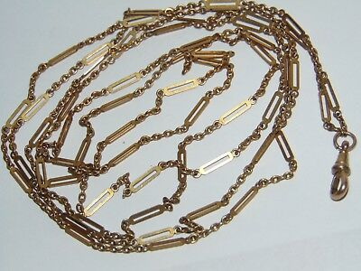 STYLISH LONG 134cm or 52 inch ANTIQUE ROLLED GOLD ORNATE LINK MUFF / GUARD CHAIN