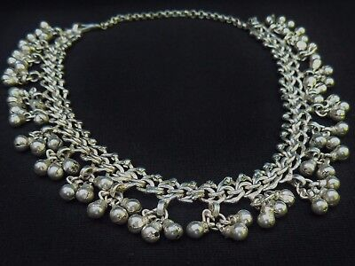 Antique Asian Ethnic Indian Kutch Silver Necklace Choker  Estate Jewelry