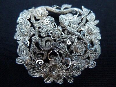 Antique Asian Ethnic Indian Kutch Filigree Silver Snake Brooch  Estate Jewelry