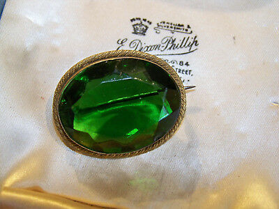 c1910 ANTIQUE EDWARDIAN JEWELLERY RICH EMERALD GREEN PINCHBECK BROOCH LACE PIN