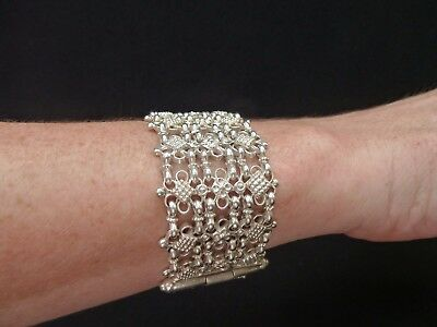 Antique Asian Ethnic Indian Kutch Silver Bracelet   Estate Jewelry
