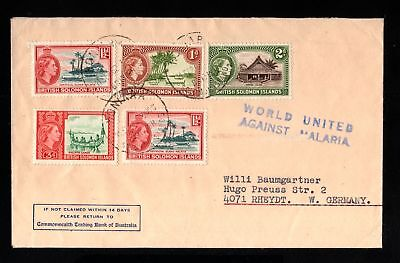 17392-BRITISH SOLOMON ISLANDS-OLD COVER HANIARA to RHEYST.(germany) 1962.Malaria