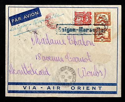 17546-INDOCHINA-AIRMAIL COVER SAIGON to MONTBELIARD (france).1932.WWII.Indochine