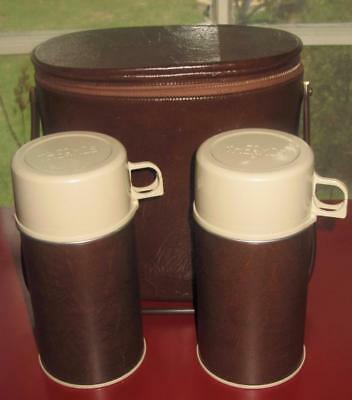 Very Cool Vintage Faux Leather Thermos Travel Set ~ Travel Case and 2 Thermos