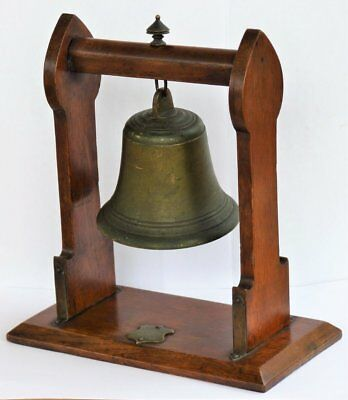 Antique Vintage Arts & Crafts Brass Bell On Oak Stand * Shop Counter Table Bell