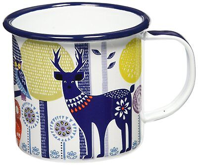 Wild and Wolf Folklore Enamel Mug, Day Design, White, (14 Ounces) / Coffee Cup