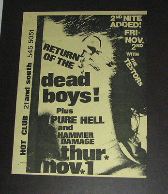 Dead Boys Show Poster Philly Hot Club 1979 w/ Pure Hell, Hammer Damage