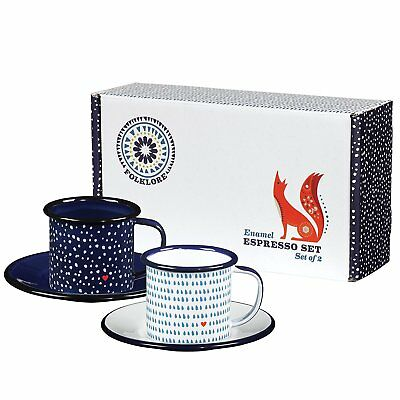 Wild and Wolf Folklore Enamel Espresso Cup, Set of 2, 150ml / Camping Coffee Cup
