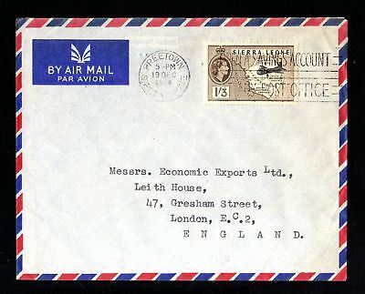 17540-SIERRA LEONA-AIRMAIL COVER FREETOWN to LONDON (england).1958.BRITISH.