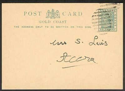 GOLD COAST. 1884 1/2d Postal Stationery Card. Used. SEE ITEM SPECIFICS BELOW.