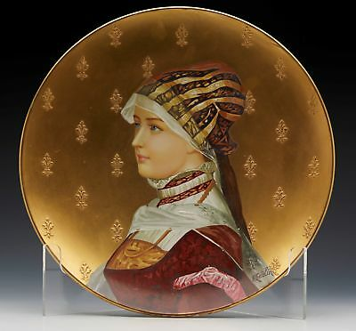 French Montereau Art Pottery Wall Charger With Maiden Signed H Cutelin C.1880