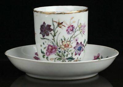 Antique Chinese Meissen Flowers Painted Cup & Saucer 18Th C.