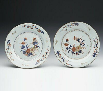 Pair Antique Chinese Qing Imari Pattern Plates 18Th C.