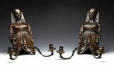Arts & Crafts Egyptian Revival Bronze Wall Sconces 19/20H C.
