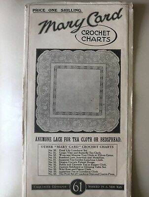 "Vintage Mary Card Crochet Chart, 61, ""Anemone Lace for Tea Cloth or Bedspread"""