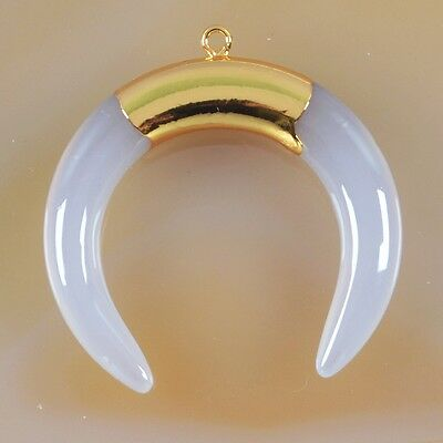 Crescent Moon Double Horn Gray Agate Charm One Bail Gold Plated T031321