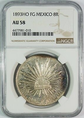 1893-Ho Mexico 8 Reales Silver Coin NGC AU58