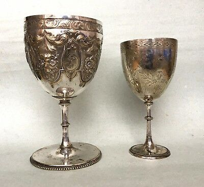 2 x Victorian ANTIQUE GOBLET CHALICE large ornate embossed silver plated cup tro