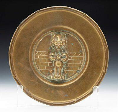 Vintage Moulded Brass Dish With Grinning Cat Figure C.1920