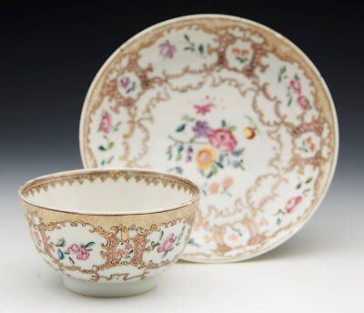 Antique Chinese Qianlong Polychrome Teabowl & Saucer 18Th C.