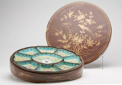 Antique Chinese Qing Cased Enamel Supper Set 18/19Th C.