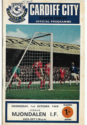 1969/70 European Cup Winners Cup - CARDIFF CITY v. MJONDALEN IF