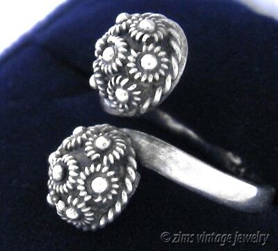 Vintage old MEXICAN Sterling silver filigree floral BALL Bypass RING adjustable