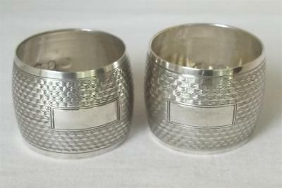 A Stunning Pair Of Solid Sterling Silver Barrel Shaped Napkin Rings London 1944.