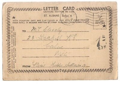 ST. ALBANS, HERTS.  lettercard used 1938? postmark  6 photos.. lovely old cars