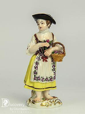 Old Meissen Porcelain Figurine Of Woman With Basket Of Flowers
