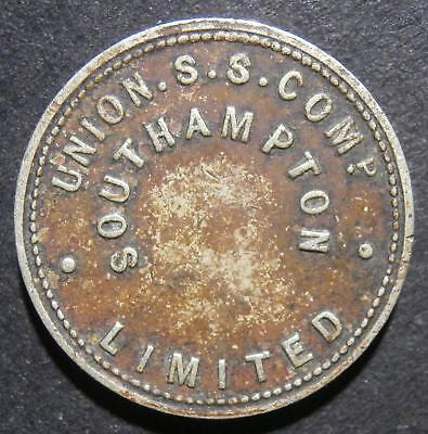 Naval shipping token - Union S. S. comp. Southampton 3d - threepence 19.5mm