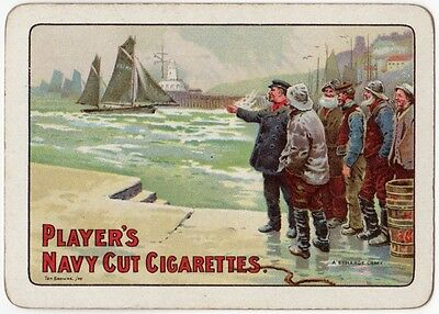 Playing Cards 1 Swap Card Old Vintage Wide PLAYERS Navy Cut CIGARETTES Fishermen